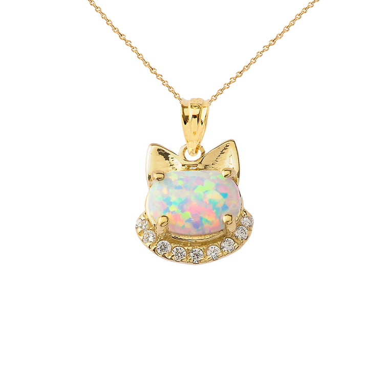 Simulated Opal kitty Pendant Necklace in Gold (Yellow/Rose/White)
