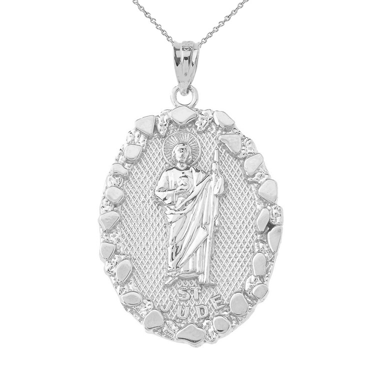 Solid-Sterling-Silver-Saint-Jude-Nugget-Pendant-Necklace
