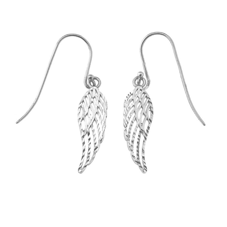 Angel Wings Cut-Out Sparkle-Cut Earrings in Sterling Silver