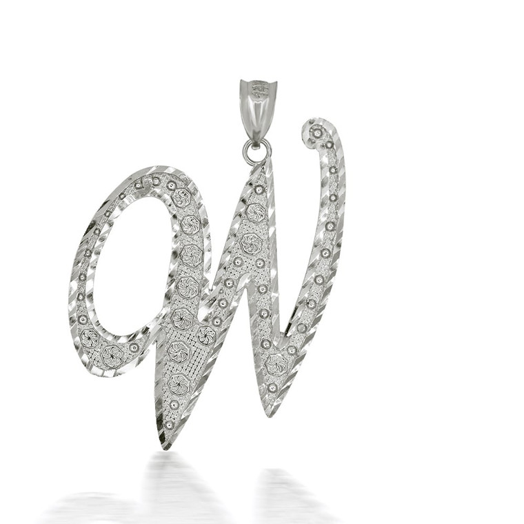 "Sterling Silver Cursive Initial Letter ""W"" Pendant/Necklace"