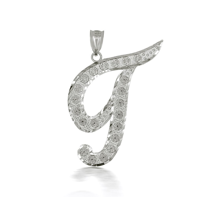 "Sterling Silver Cursive Initial Letter ""T"" Pendant/Necklace"