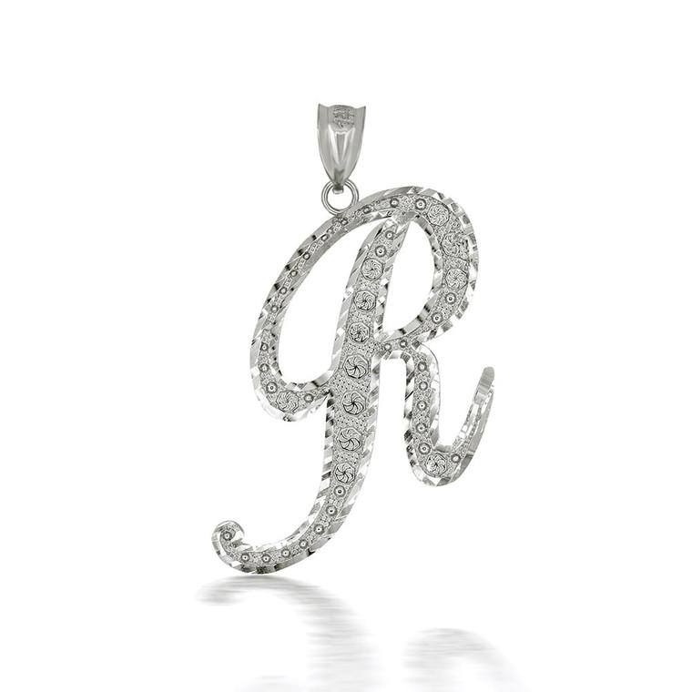 "Sterling Silver Cursive Initial Letter ""R"" Pendant/Necklace"