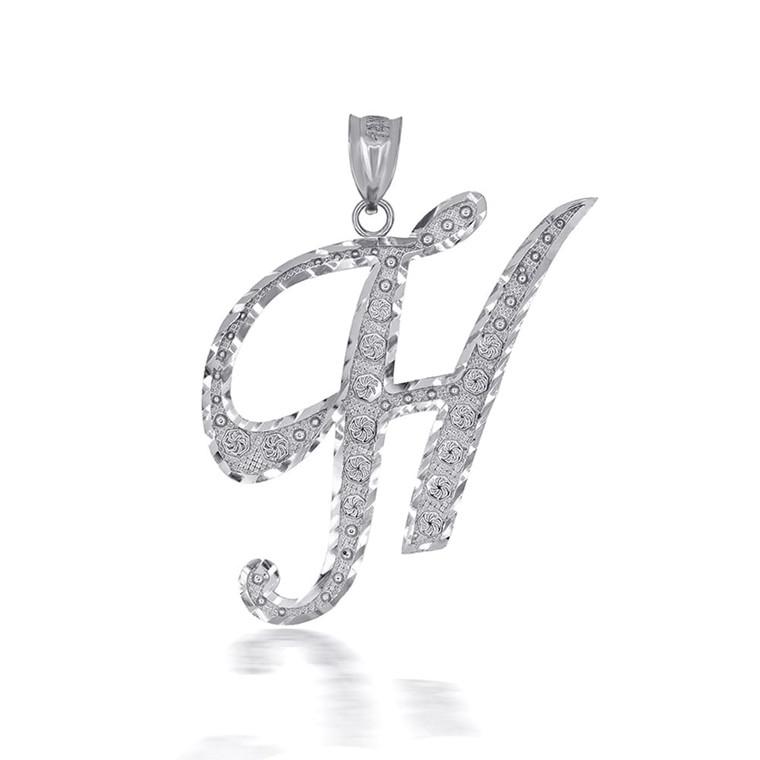 "Sterling Silver Cursive Initial Letter ""H"" Pendant/Necklace"