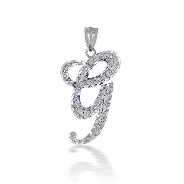 "Sterling Silver Cursive Initial Letter ""G"" Pendant/Necklace"