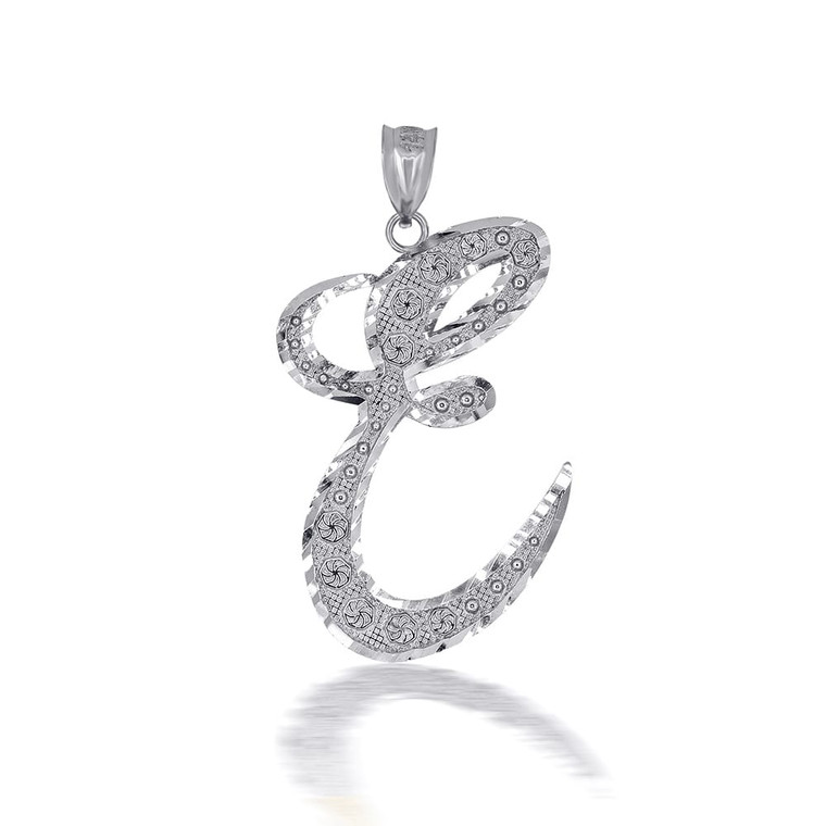 "Sterling Silver Cursive Initial Letter ""E"" Pendant/Necklace"