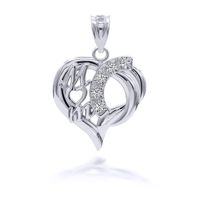 Sterling Silver Shiny Mom Heart Pendant Necklace