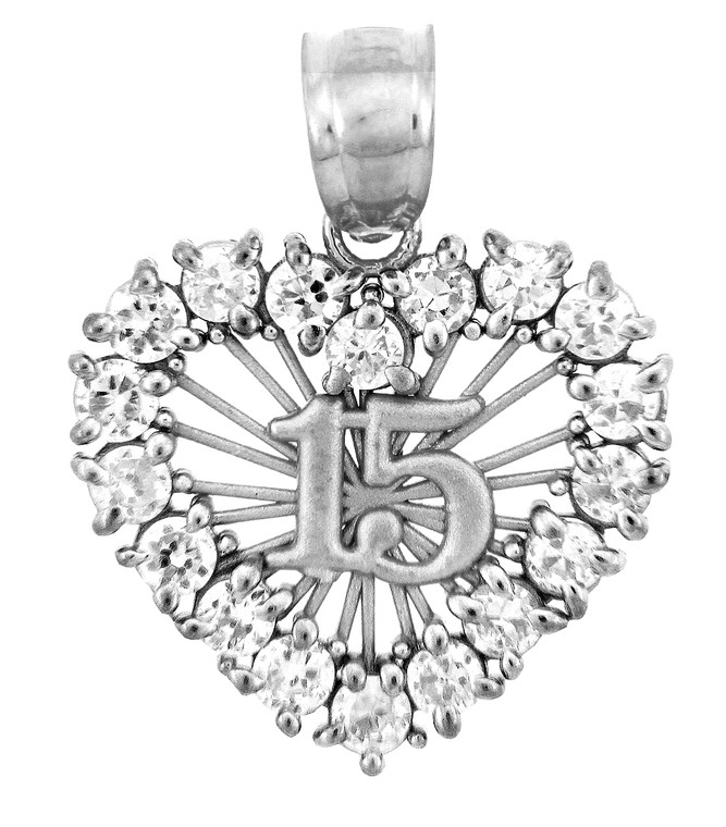 Sterling Silver The Sweet 15 Birthday- Quinceanera Pendant in Cubic Zirconia with SunBurst