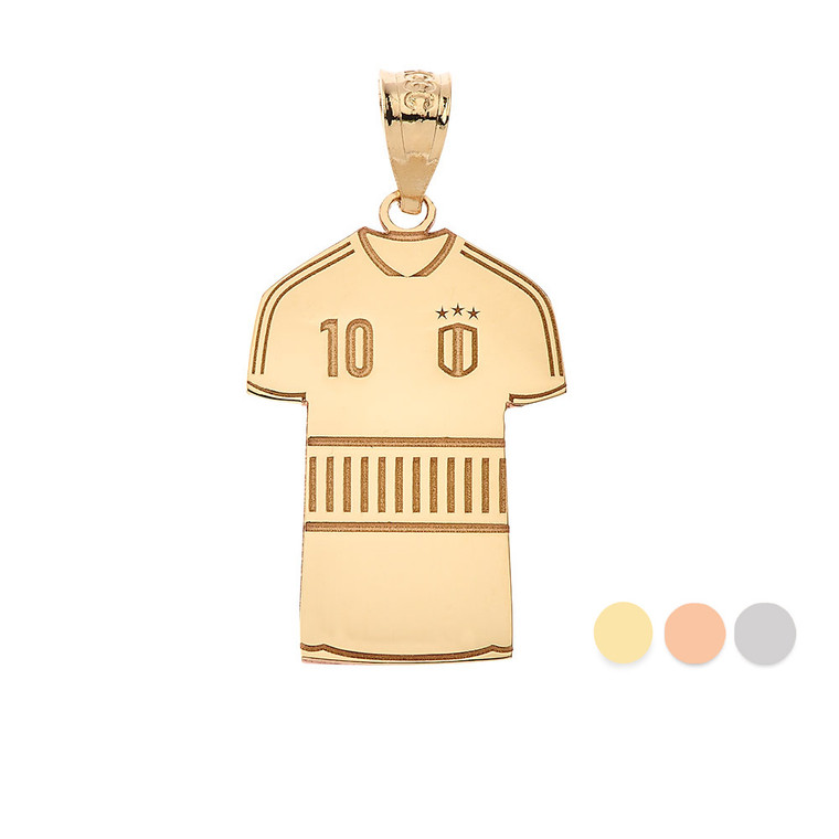Personalized Engravable Gold soccer Jersey Charm Necklace With Your Number And Name(Yellow/Rose/White)