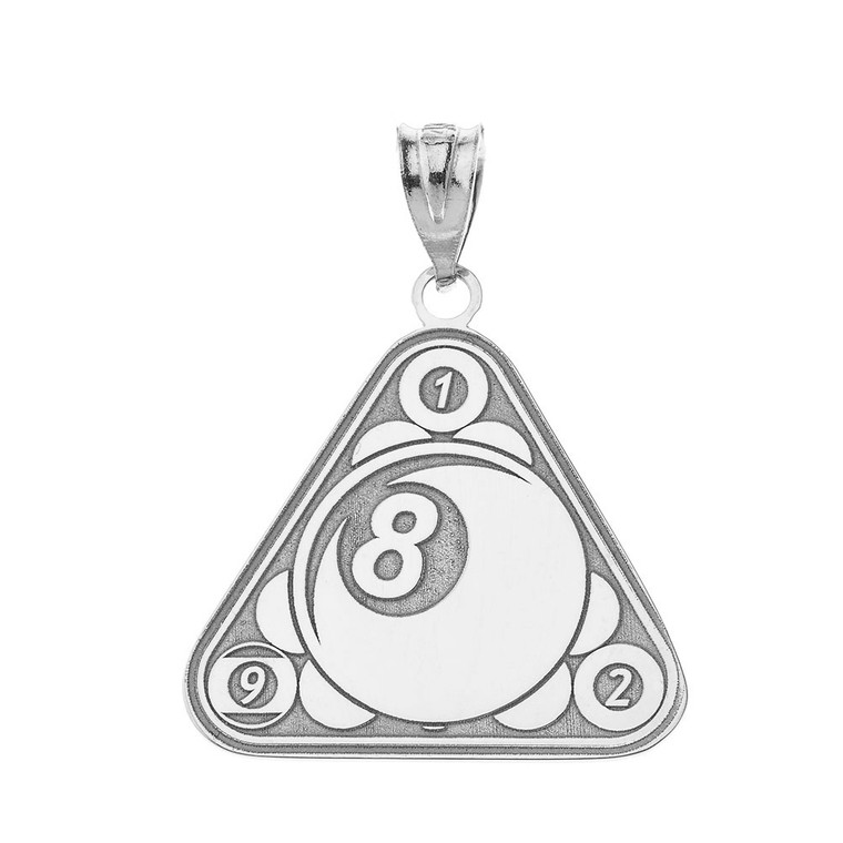 Personalized Engravable Silver Eight Ball Billiard Pool Cue Charm Necklace With Your Number And Name