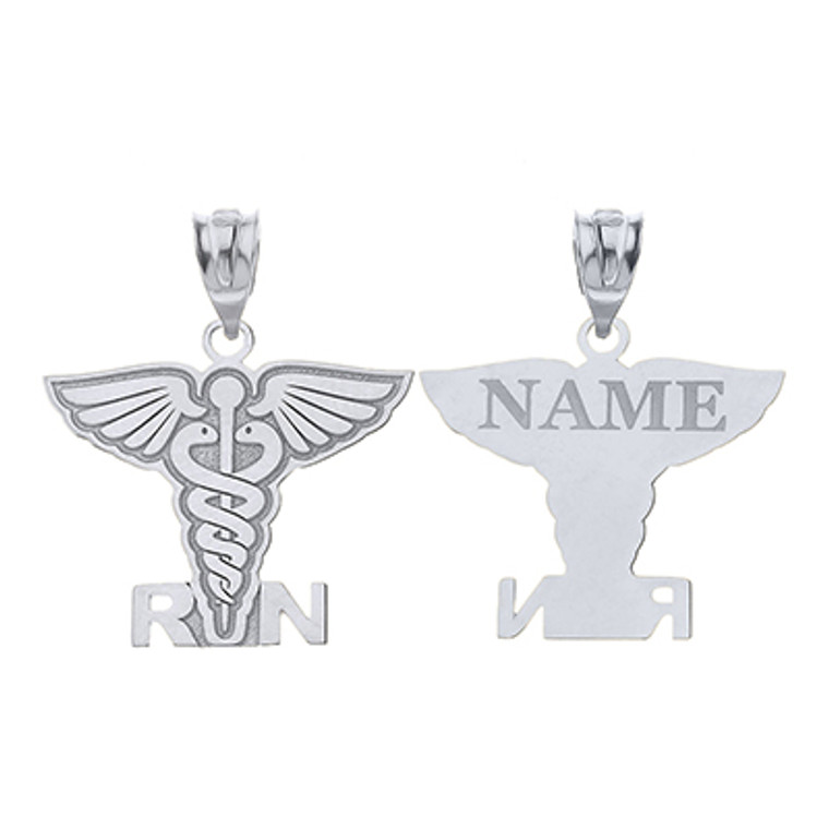 925 Sterling Silver Personalized Name Caduceus RN Registered Nurse Charm Necklace