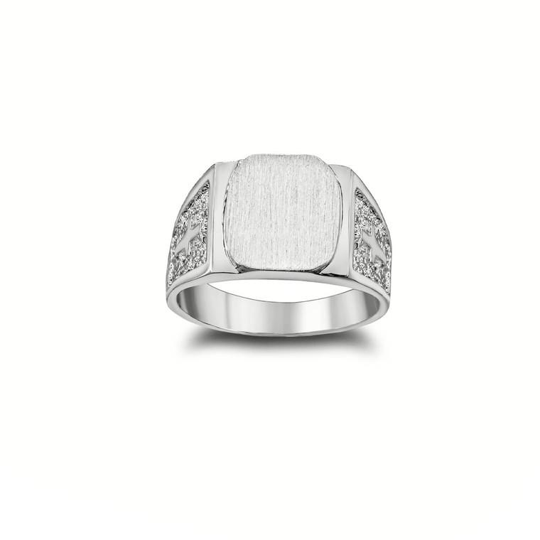 Exquisite Signet Ring with Cross on Both Sides in  Sterling Silver