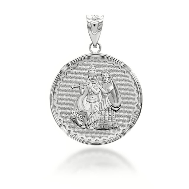 silver-radha-lord-krishna-indian-hindu-god-and-goddess-playing -flute-coin-medallion-pendant-necklace