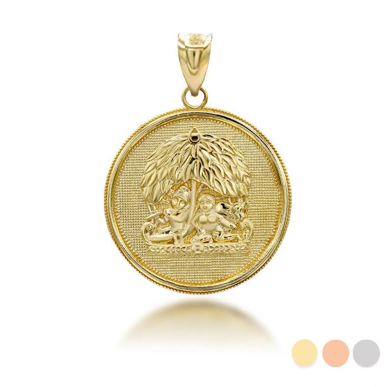 yellow-gold-radha-lord-krishna-indian-hindu-god-and-goddess-under-kadamba-tree-coin-medallion-pendant-necklace