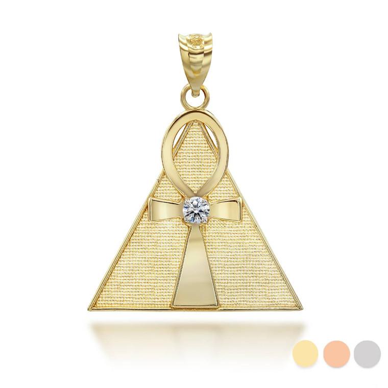 yellow-gold-egyptian-ankh-cross-cz-center-pyramid-pendant-necklace