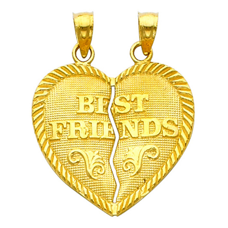 Gold Hearts Apart - Best Friends Pendant - Small