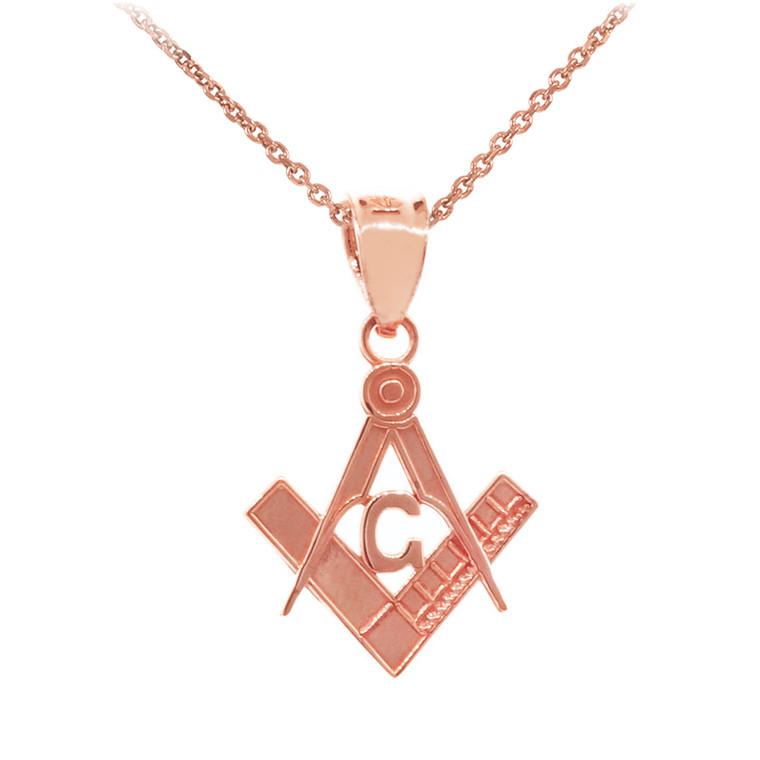 """Rose Gold Freemason Small Masonic Pendant .8"""""""