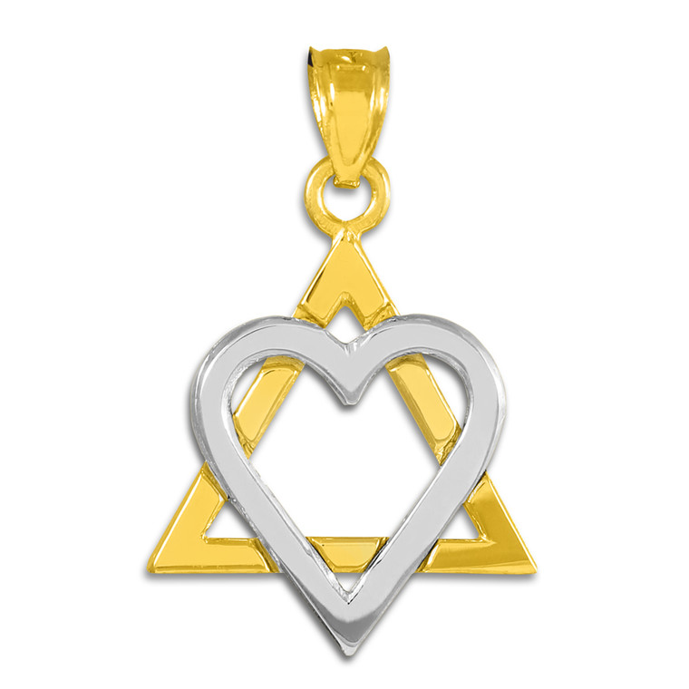 "Two-Tone Gold Star of David Heart Medium Pendant (1.1"")"