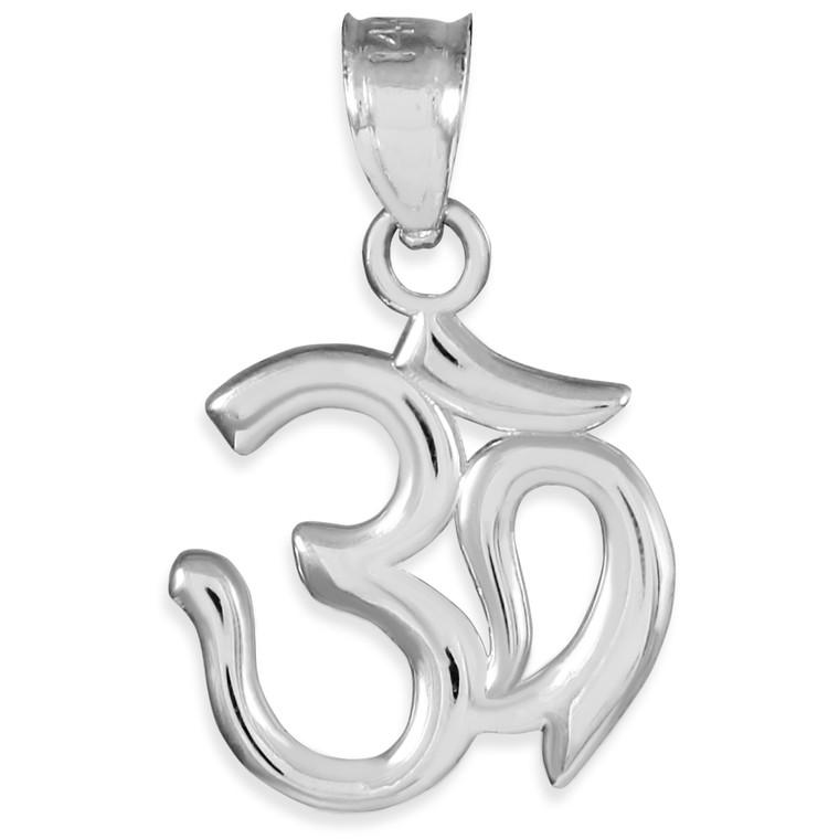White Gold Om/Ohm Pendant Necklace