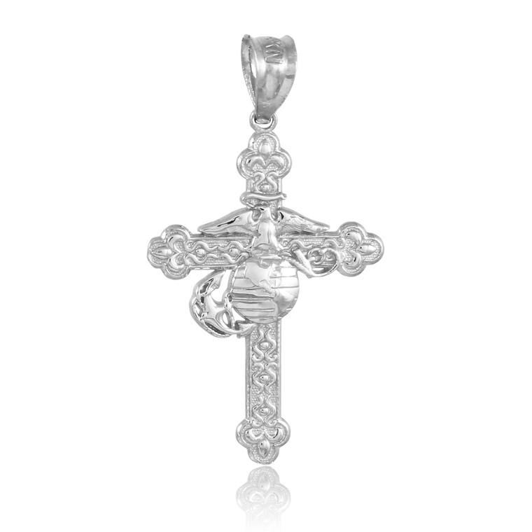 White Gold US Marine Christian Cross Charm Pendant Necklace
