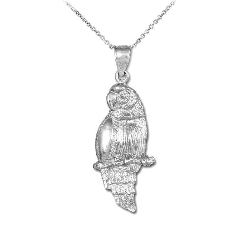 925 Sterling Silver Parrot Pendant Necklace