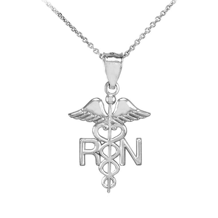 Sterling Silver Registered Nurse RN Medical Pendant Necklace