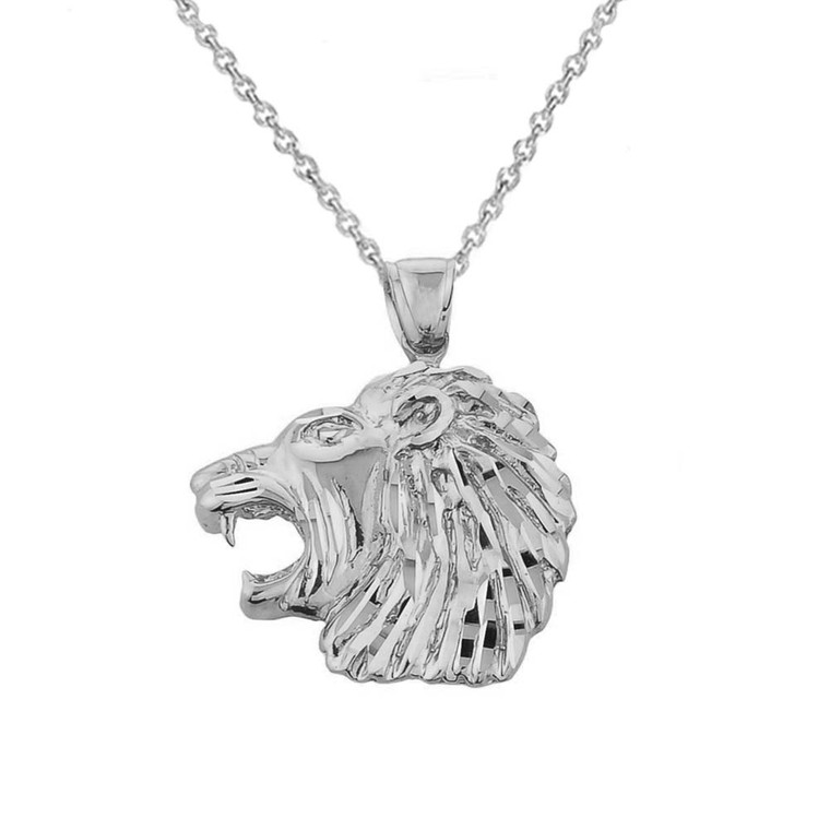 White Gold Diamond Cut Lion Head Pendant