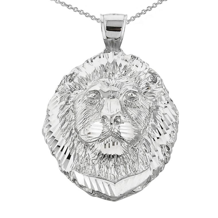 Diamond Cut Lion Head Pendant Necklace in Sterling Silver