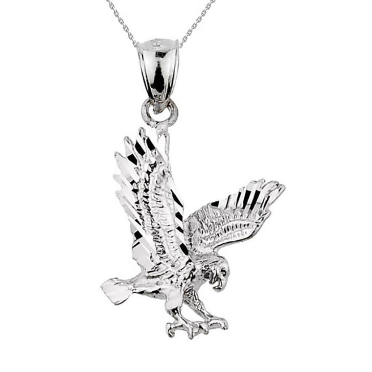 925 Sterling Silver Diamond Cut Eagle Pendant Necklace