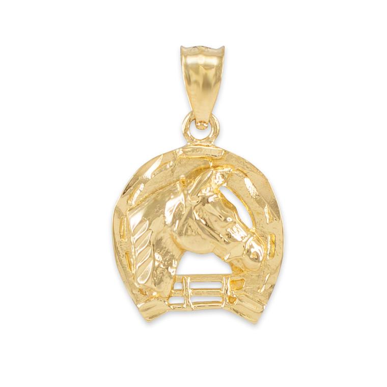 Gold Horseshoe with Horse Head Charm Pendant Necklace