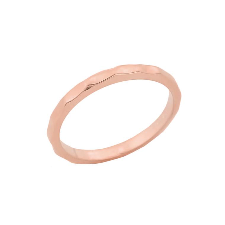 Rose Gold Hammered Knuckle Ring