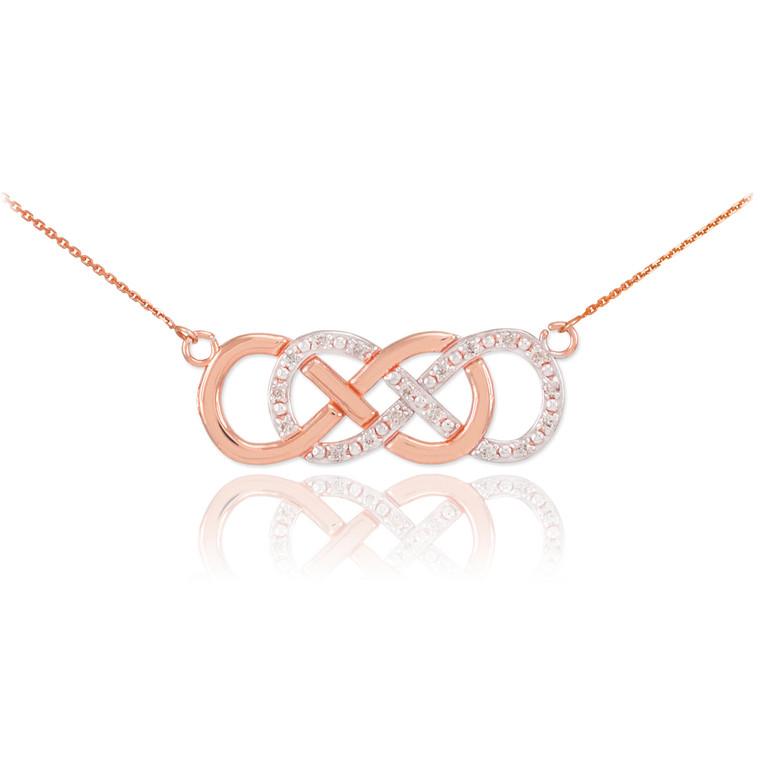 14k Rose Gold Diamond Double Infinity Necklace