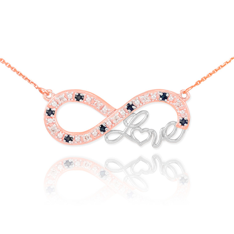 """14k Two-Tone Rose Gold Infinity """"Love"""" Script Necklace with Black and Clear Diamonds"""
