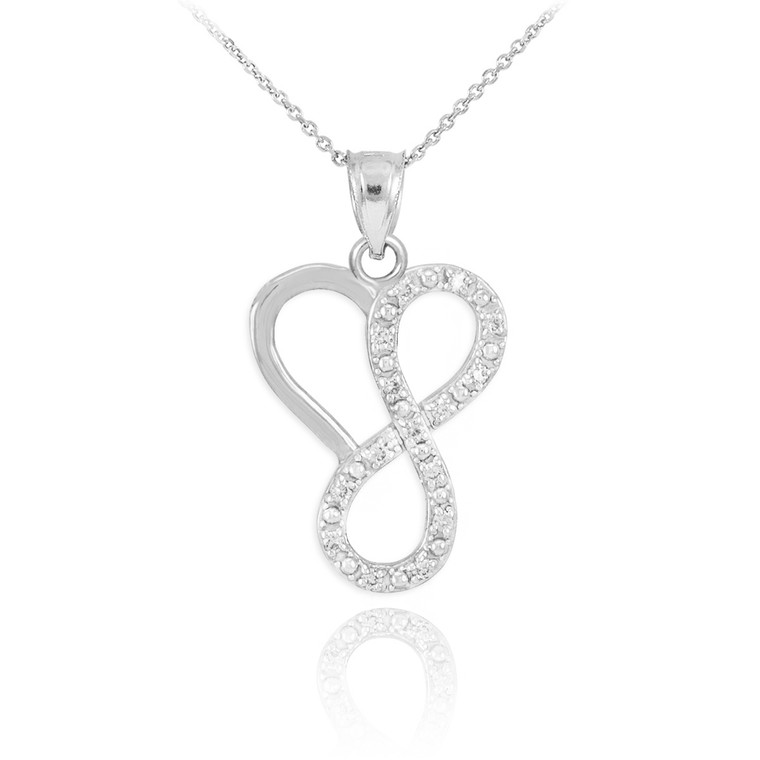Sterling Silver Infinity Heart Pendant Necklace with CZ