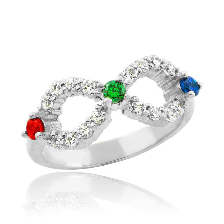 Sterling Silver Infinity CZ Ring with Interchangable Birthstones