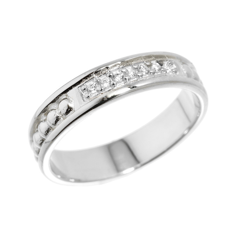 White Gold Classic Wedding Band with Diamonds