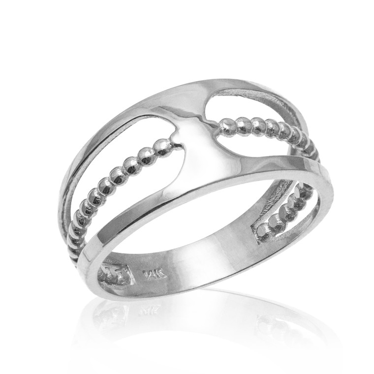 Sterling Silver Bead Openwork Ring