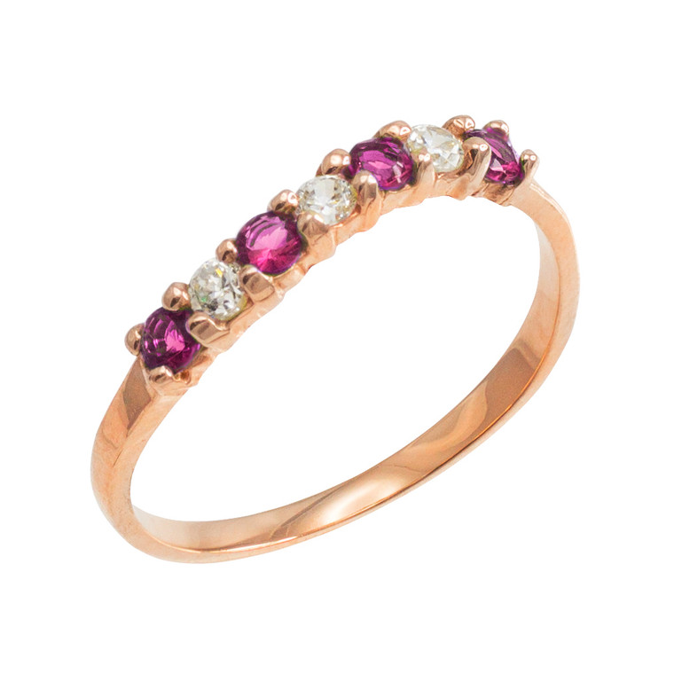 Rose Gold Wavy Stackable CZ Alexandrite Ring
