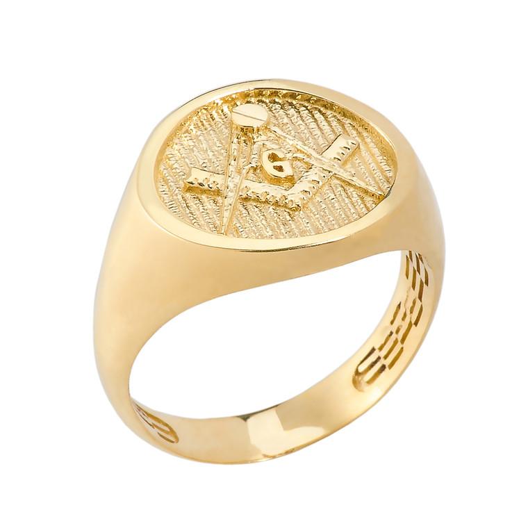 Solid Yellow Gold Masonic Men's Ring
