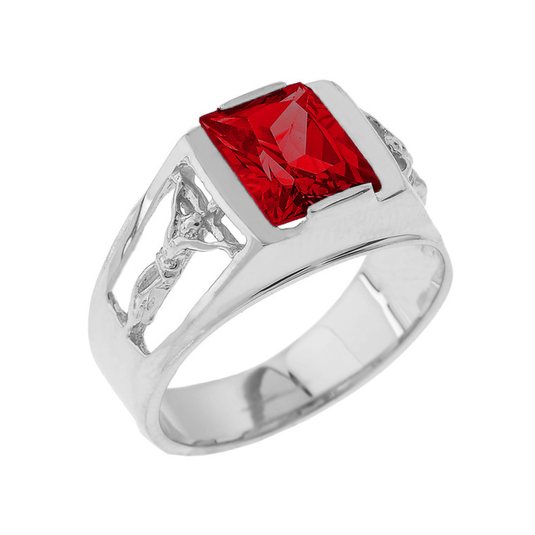 Sterling Silver Crucifix Cross Aquamarine Gemstone Men's Ring