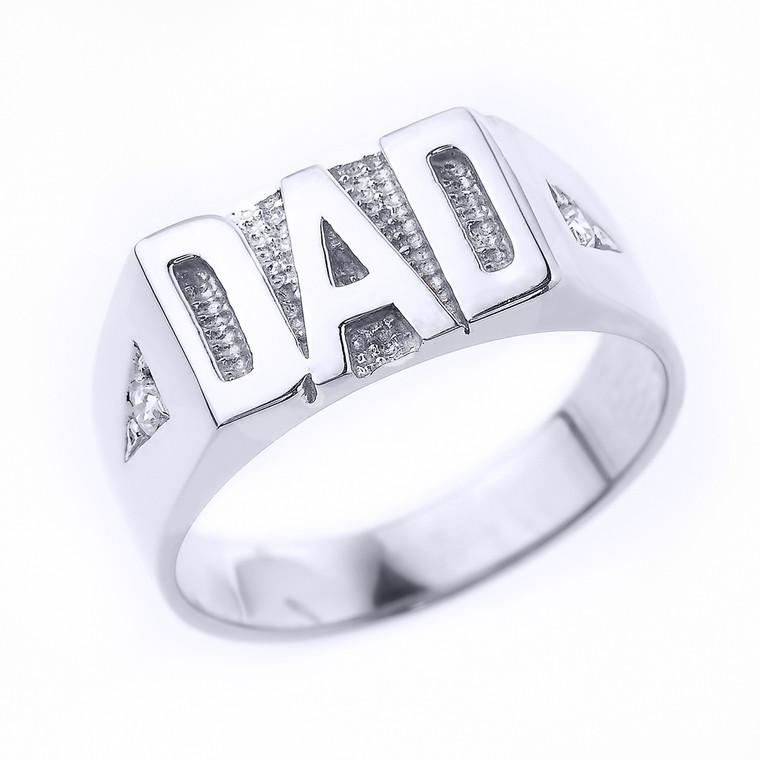 "Sterling Silver Diamond ""DAD"" Men's Ring"