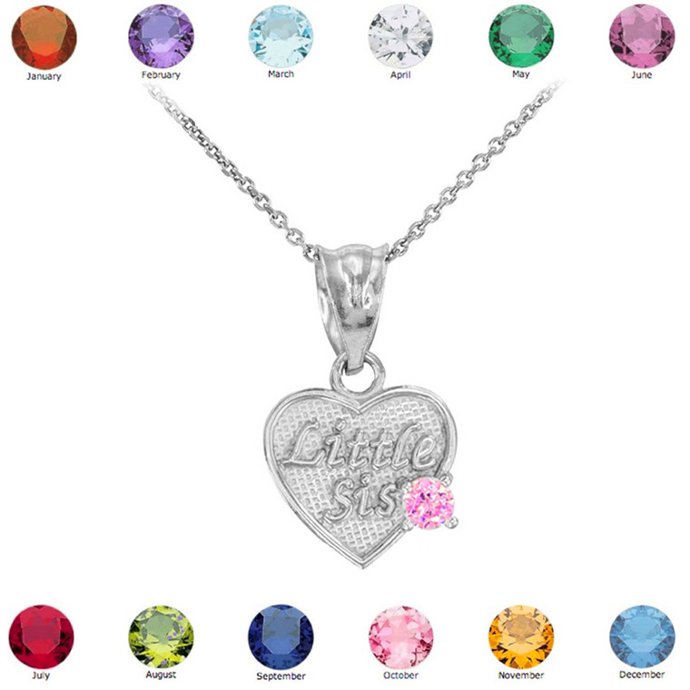 White Gold 'Little Sis' Birthstone CZ Heart Charm Necklace