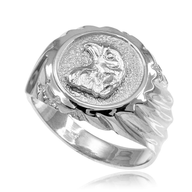Silver Eagle Head Men's Ring