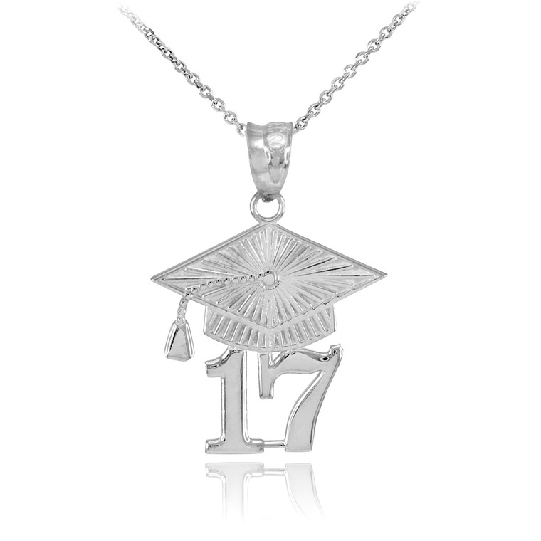 Silver 2017 Class Graduation Pendant Necklace