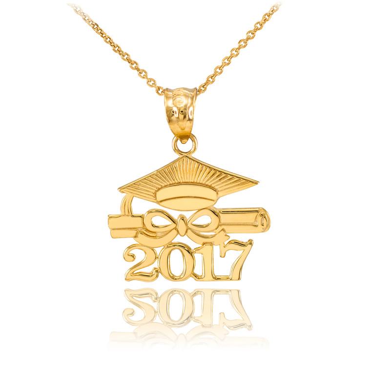 "Gold ""CLASS OF 2017"" Graduation Pendant Necklace"