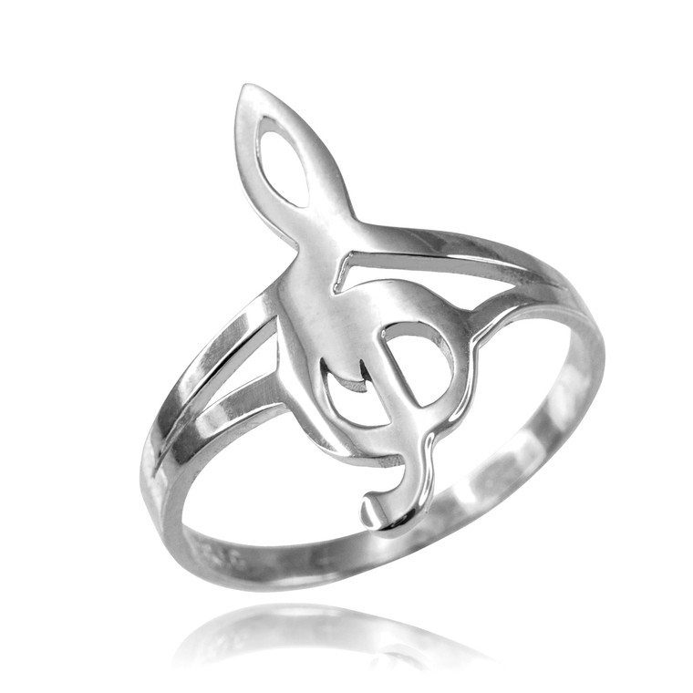 White Gold Music Note Dainty Ring