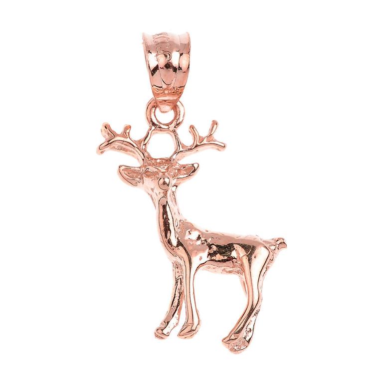 Polished Rose Gold Deer Charm Pendant Necklace