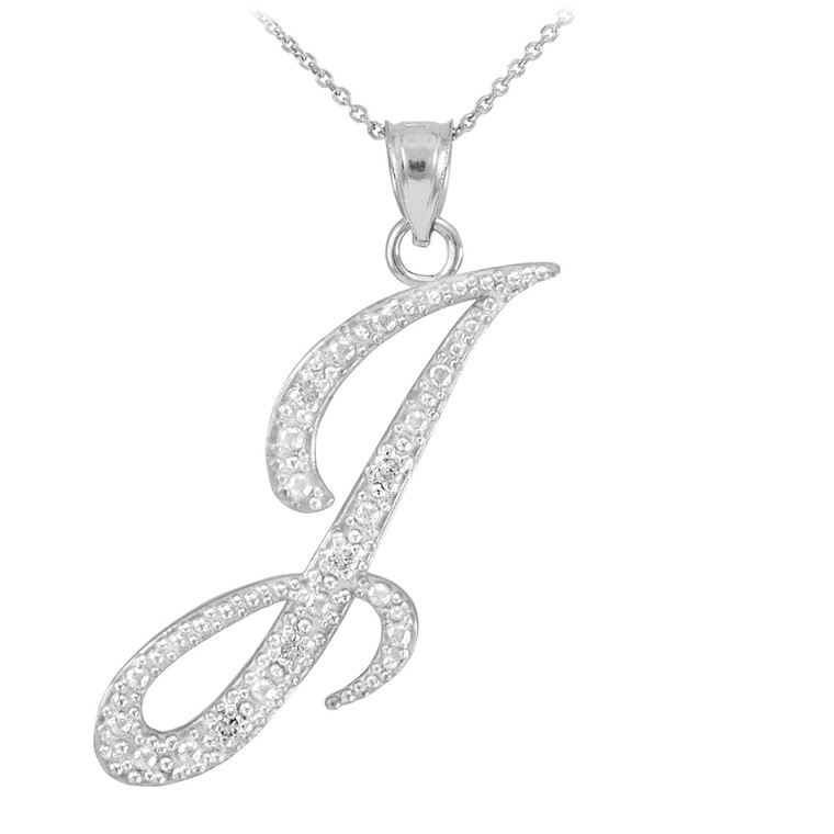 """Sterling Silver Letter Script """"I"""" CZ Initial Necklace"""