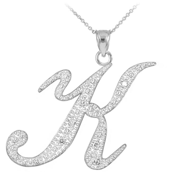 "Sterling Silver Letter Script ""K"" CZ Initial Necklace"