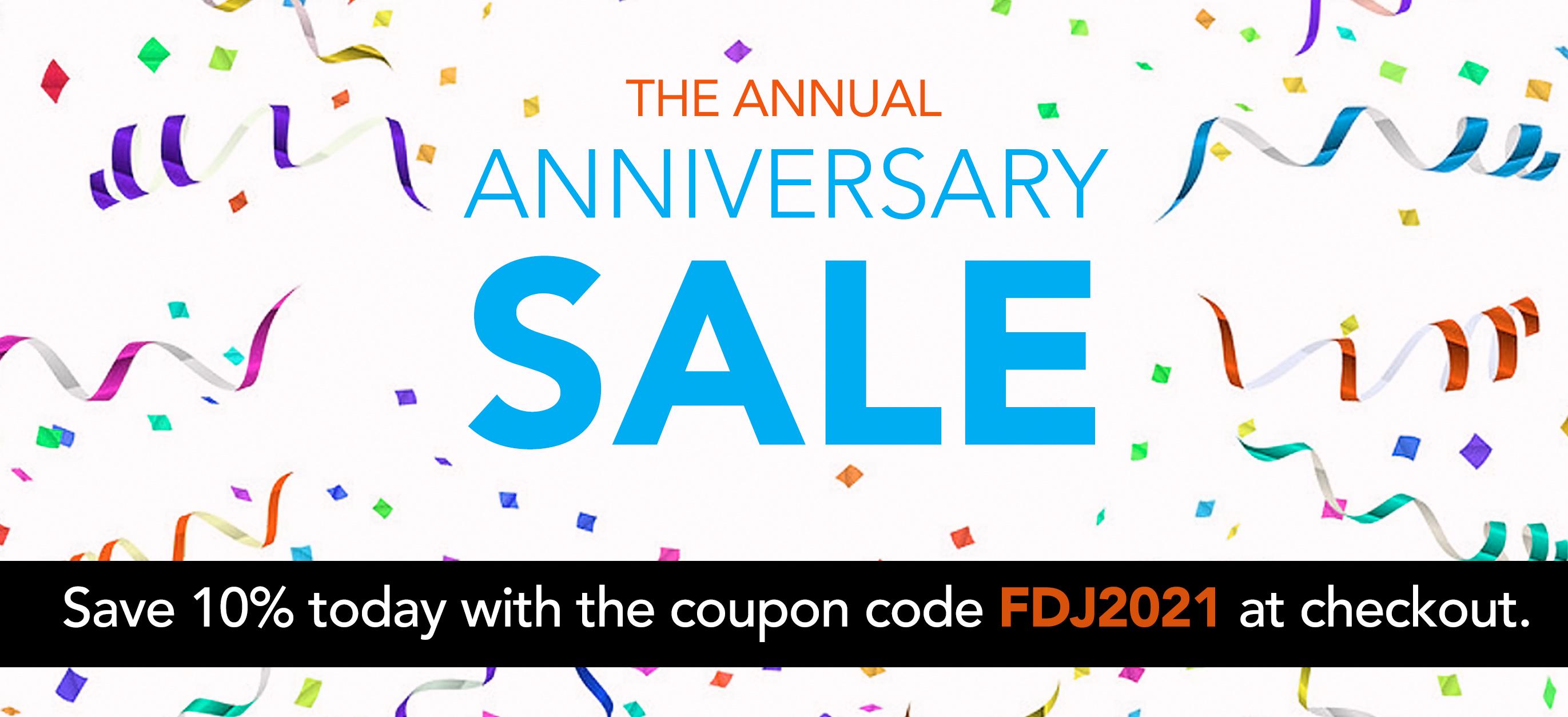 anniversary sale coupon code FDJ2021