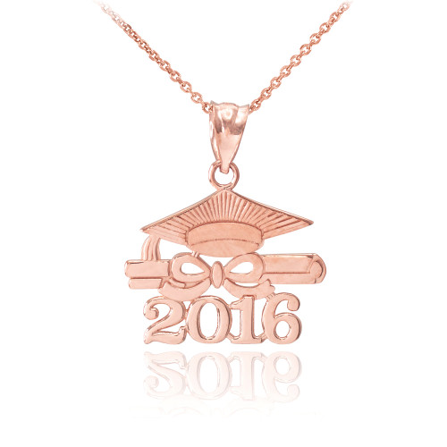 rose gold class of 2016 graduation pendant necklace. Black Bedroom Furniture Sets. Home Design Ideas
